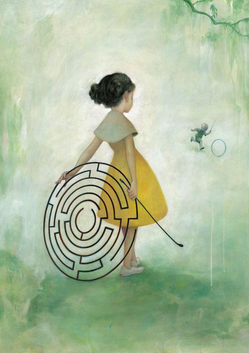Desenho de uma menina e um labirinto (Título: Maze, Autor: James Jean)